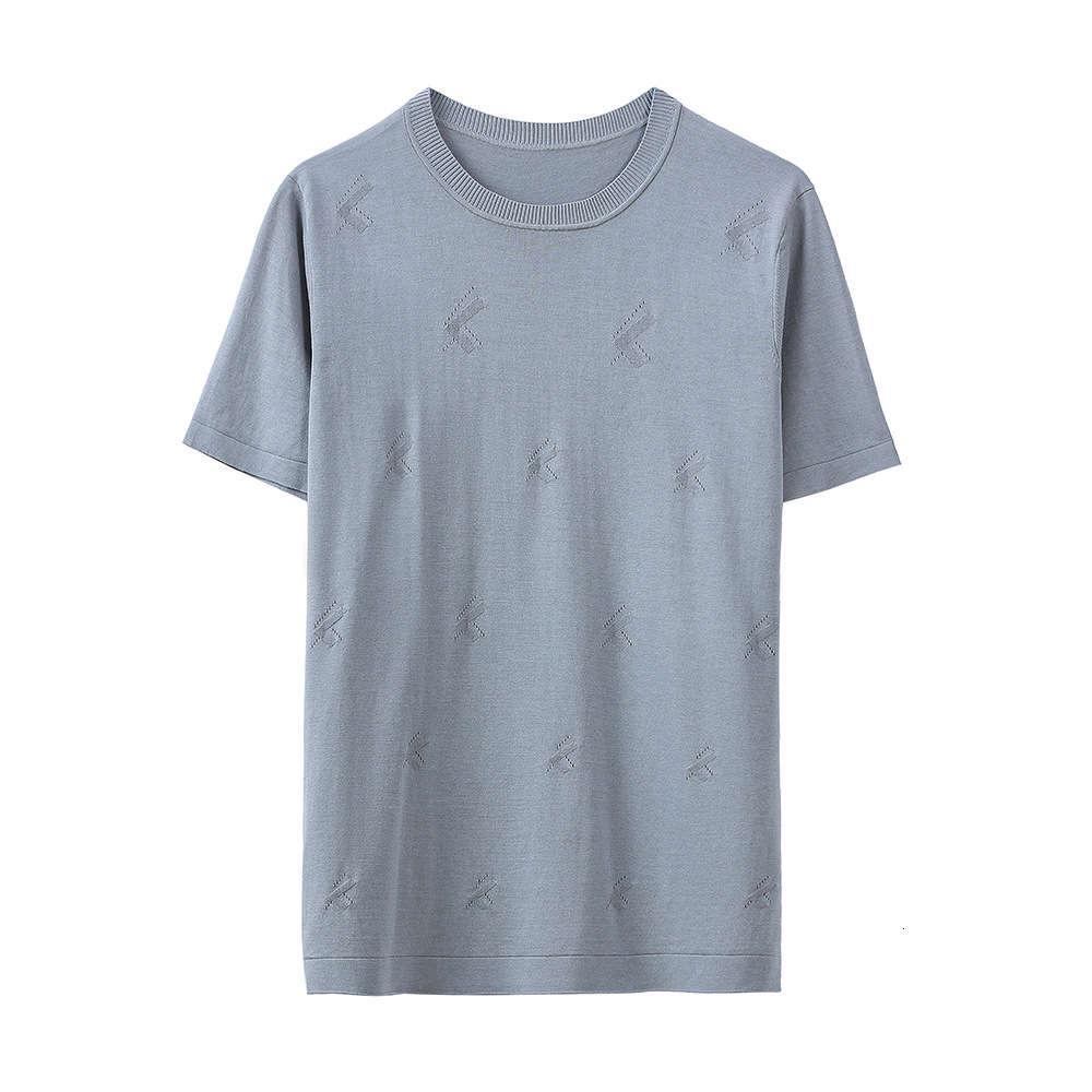 Летний новый серый хлопок шелковый короткий рукав мужские футболки для мужчин