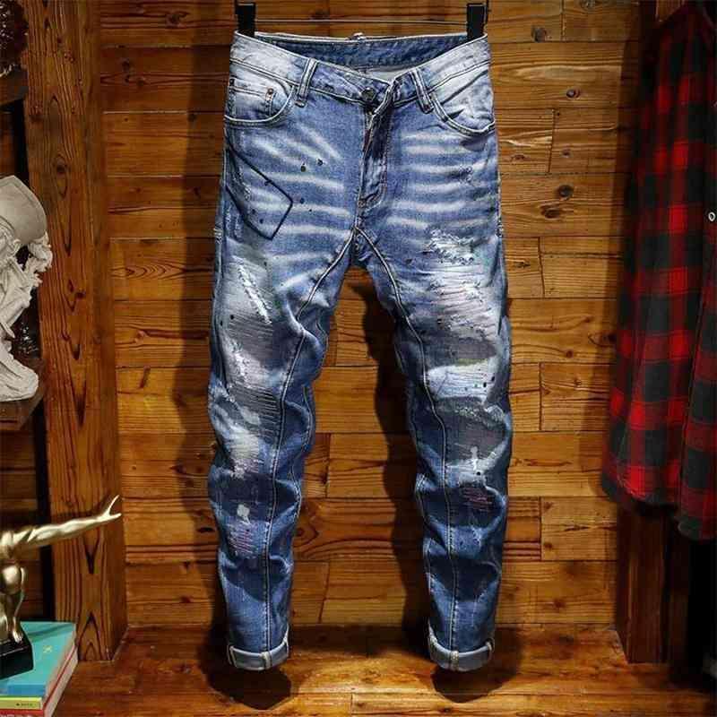 2021 남자 청바지 바지 천공 페인트 펑크 슬림 탄성 바지 중반 허리 수레 부드러운 남성 청바지, 카운터 고품질