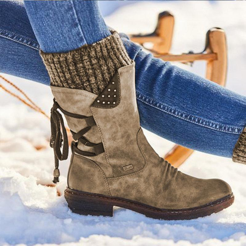 Enplei Snow Boots Woman Winter Warm Shoes PU Leather Ladies Mid Calf Platform Booties Size 35-43