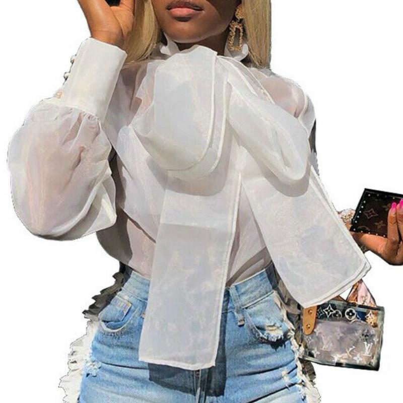 Ladies de mujer verano retro elegante blusa blanca manga larga encaje atada camisa suelta sexy club High Street Tops x0521