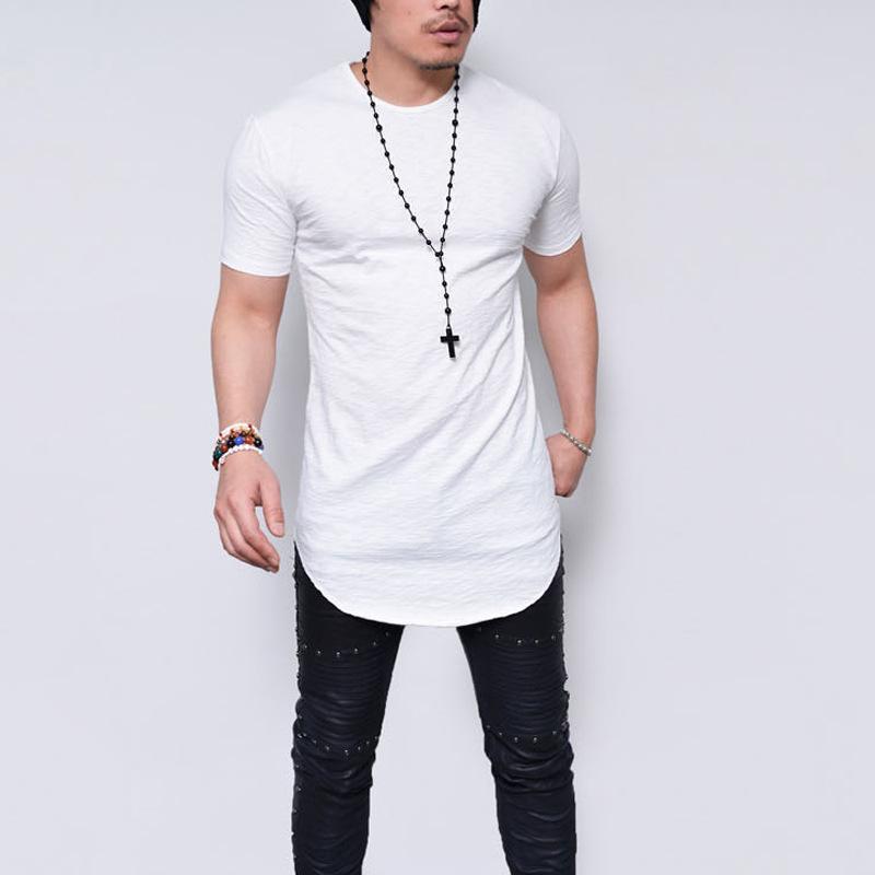 뜨거운 스타일 2019 남자 새로운 둥근 칼라 짧은 소매 티셔츠 긴 유럽과 미국 셔츠