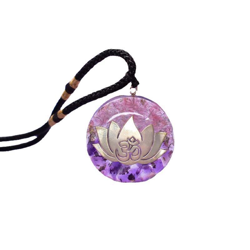 قلادة القلائد 7 شقرا لوتس زهرة الأحجار الكريمة الطبيعية الحجر طاقة orgonite om قلادة الجمشت الوردي الكريستال التأمل المجوهرات البوذية