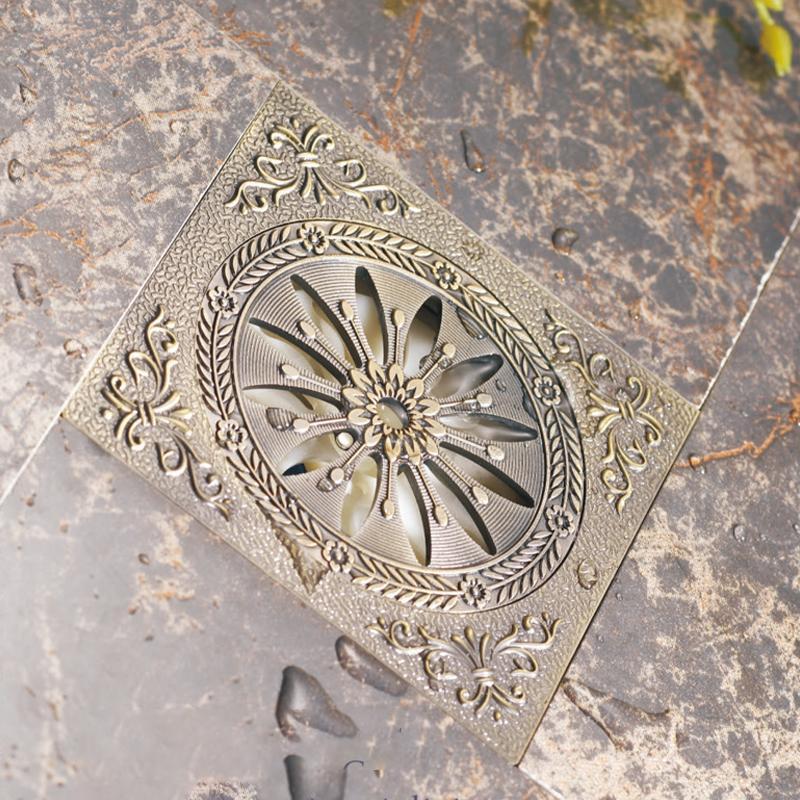 bathroom accessories deodorization floor drain Antique Brass/ brushed nickel/ Shower room Waste flower art hardware