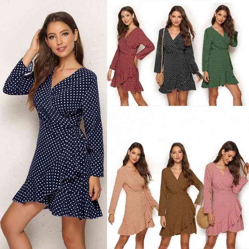 Frühling Herbst Sexy Dot Kleid Frauen Langarm V-ausschnitt Elegante Party Verband Kleider Rüschen plus Größe Mini Wrap Kleidung