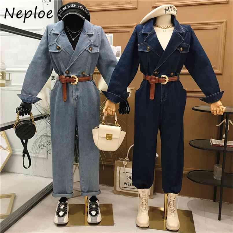 French Vintage Denim Jumpsuits Mulheres Cintura Alta Cintura Hip Faixas Reta Bodysuits Desligue Collar Manga Longa Playsuit Sólida 210521