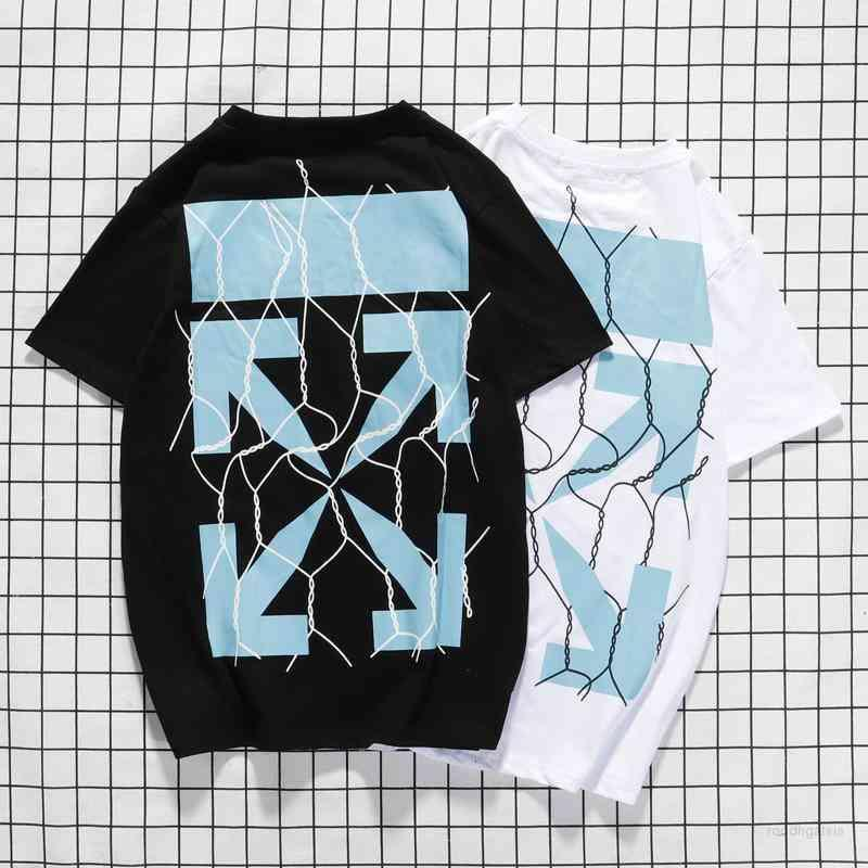 Men's Tshirts Tops Off Spring and Summer Hip Hop Printed Geometric Pattern Cotton Pullover Short Sleeve Wo Bottom Shirt