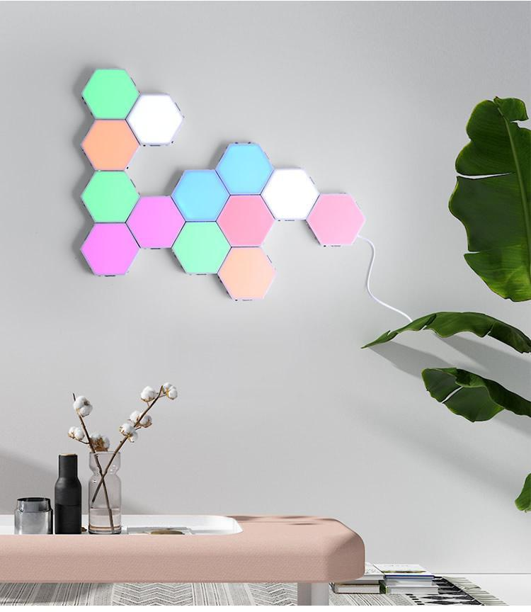 육각형 벽 램프 무료 스 플라이 화 다채로운 빛 RGB 터치 민감한 밤 침실 거실 장식