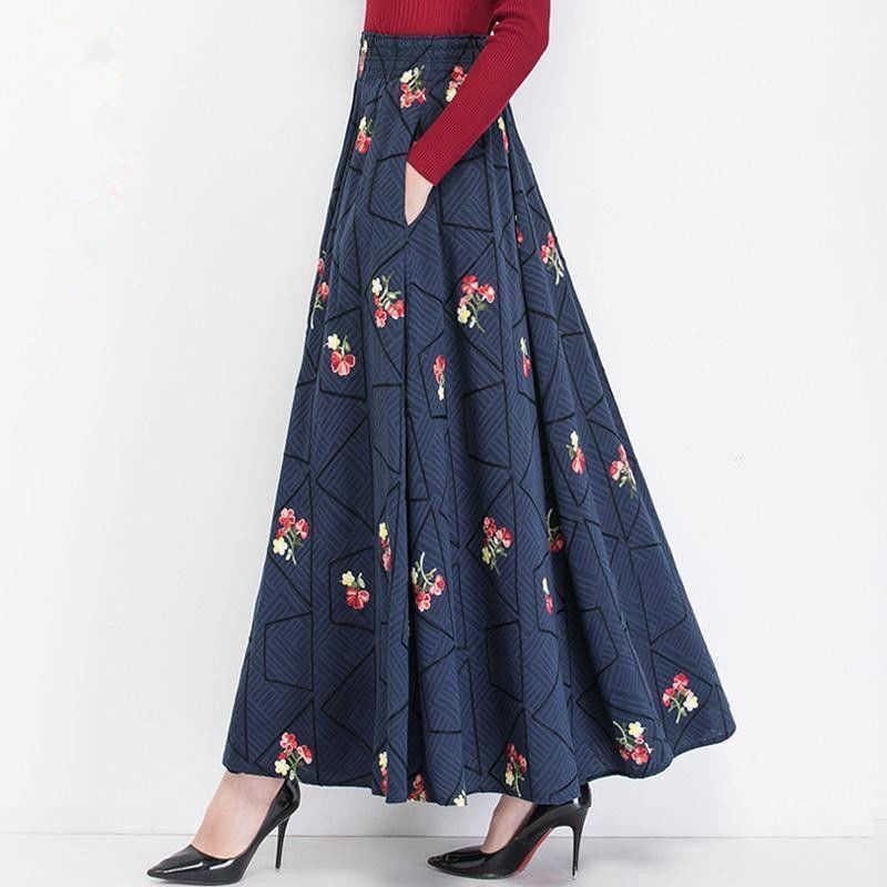 Kadınlar Çiçek İşlemeli Uzun Etek Bahar Pamuk ve Keten Büyük Salıncak Pileli Etek Lady Rahat Yaz Cepler A-Line Maxi Etek 210619