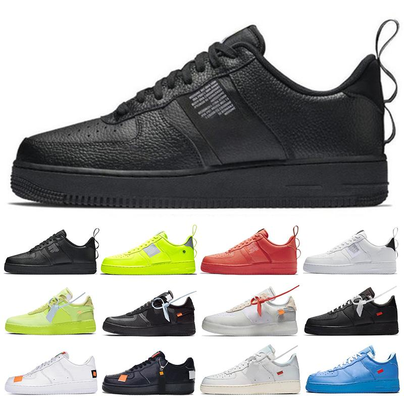 2021 Top um off 1 Utility Running Shoes Classic Black White Men Women Casual Red Sports Skateboarding High Cut Trainers Low Wheat 36-45