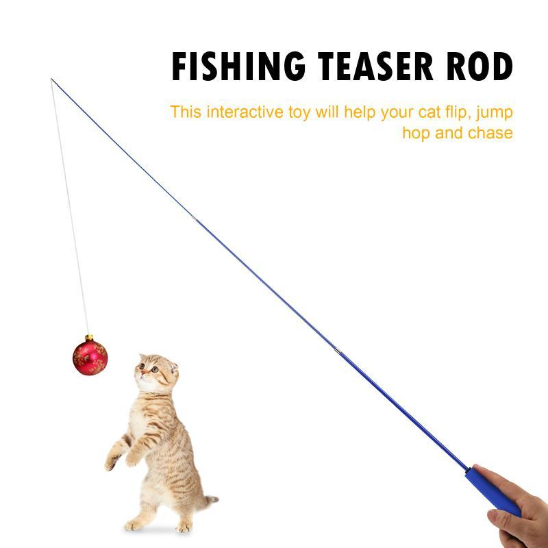 Cat Teaser Wands, Retractable Fishing Pole Wand Stick Rod Toy Toys