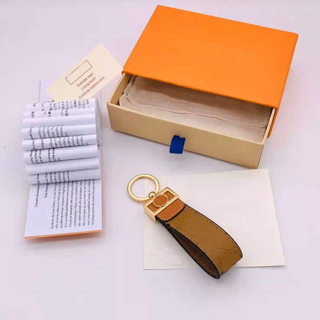 دائرة مصممة مصممون مفتاح مشبك الدائري الأزياء سيارة سلسلة المفاتيح الرجال النساء مفتاح سلسلة اليدوية الجلود الملحقات مع مربع