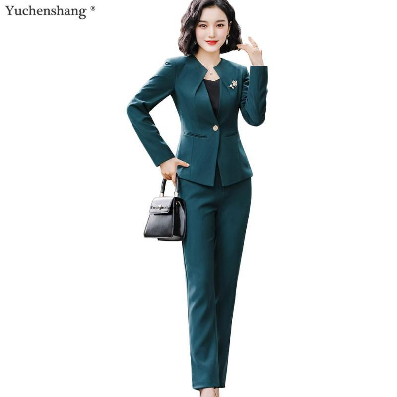 Women's Suits & Blazers Women Work Pant Suit 2021 Fall Winter Green Black 2 Piece Set One Button O-Collar Blazer Jacket And For Office Lady