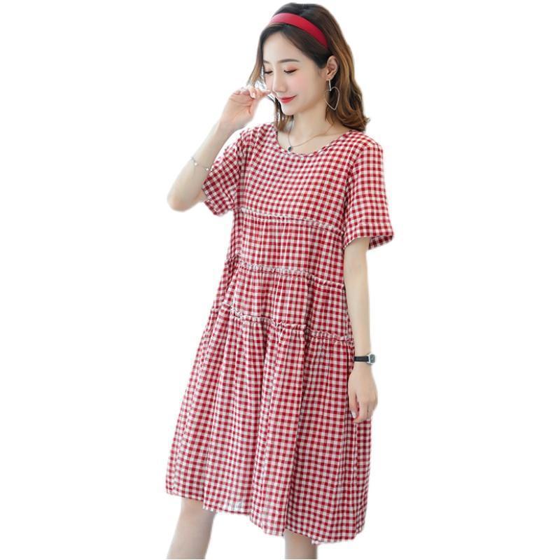 Maternity Short Sleeve Skirt Princess Dress Cotton And Linen Dresses