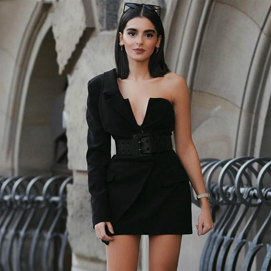 Sexy Blazer Kleid Tiefe V-Ausschnitt Mantel Mode Party Club Wrap Mini Kleider Eine Schulter Frauen Mäntel Und Jacken