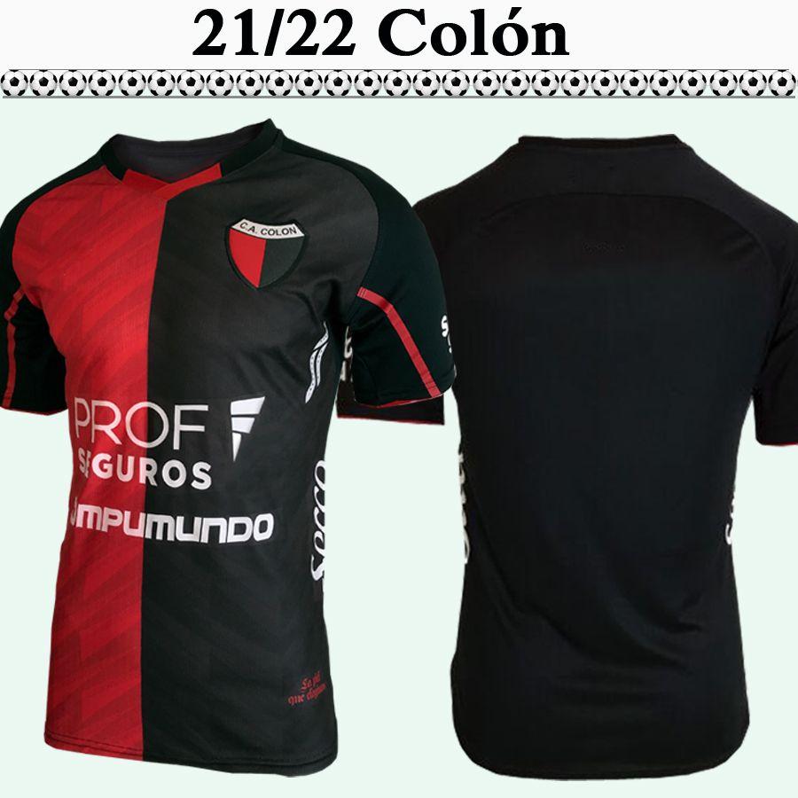 2021 2022 CLUB ATLETICO COLÓN MENS SOCCER JERSEYS Accueil Rouge Black FootToutes Chemises à manches courtes
