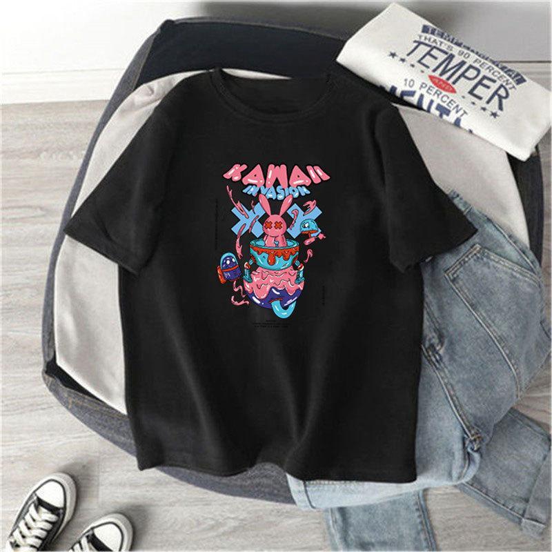 T Shirt Deluxe 280g Fleece de doble cara Thiened de manga corta de moda estilo de verano Camiseta Blusa