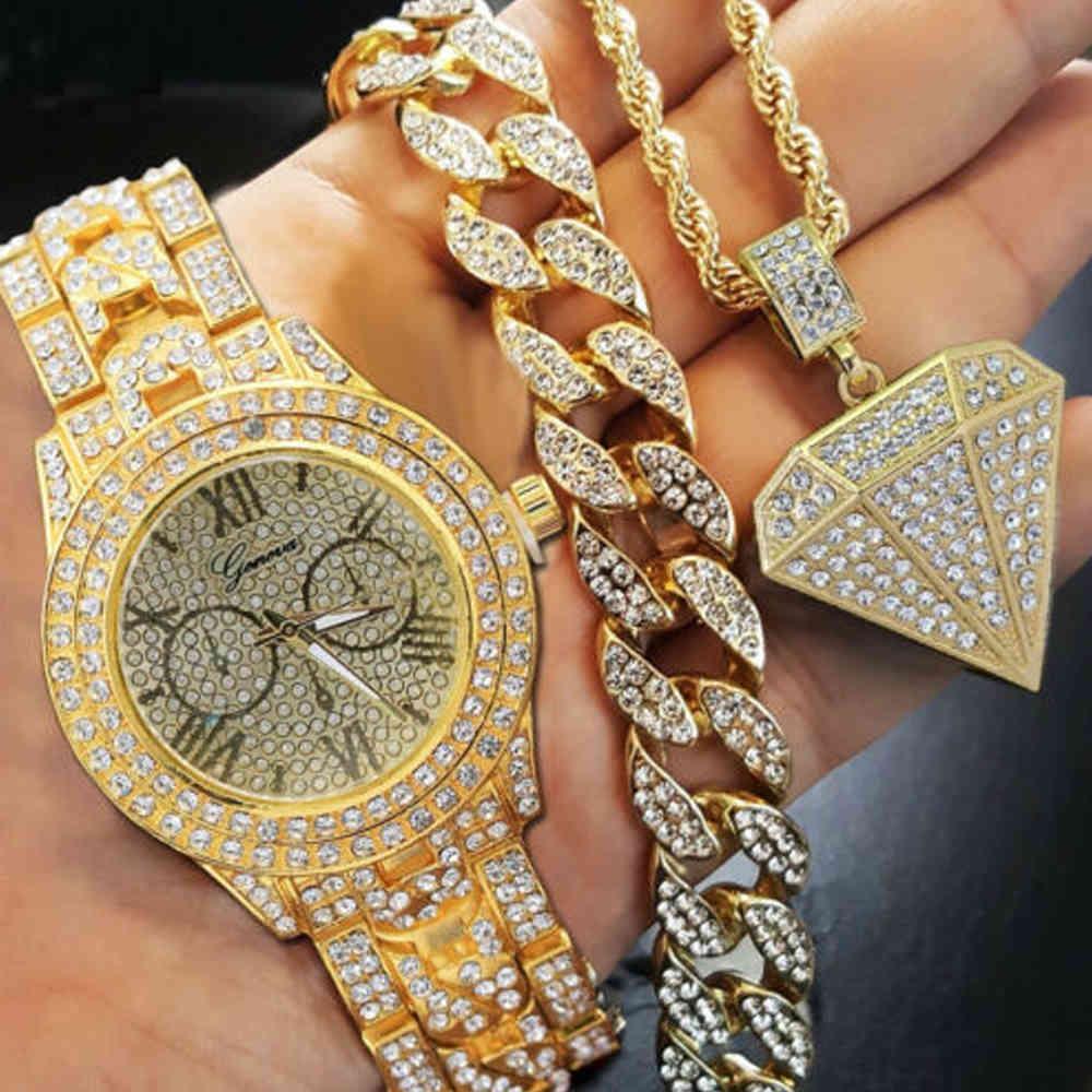 """Hip Hop Gerdanlık 8 """"Miami Küba Bilezik Kristal Rhinestone İzle Buzlu Out Geometrik Kolye Kolye Altın Renk Takı Seti"""