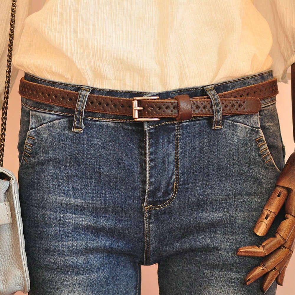 Мода аксессуары головы кожа тонкий ремень женские универсальные джинсы украшения генерал полый мягкий
