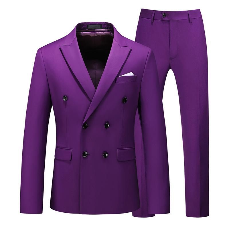 Men's Suits & Blazers guy suit big two-piece with double breasted thin male business s pants JGKS