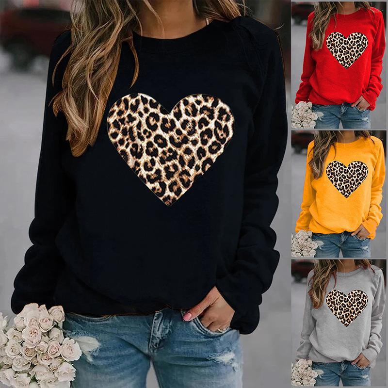 Kadın Hoodies Tişörtü Üst Leopar Aşk Kapüşonlu Uzun Kollu Kazak