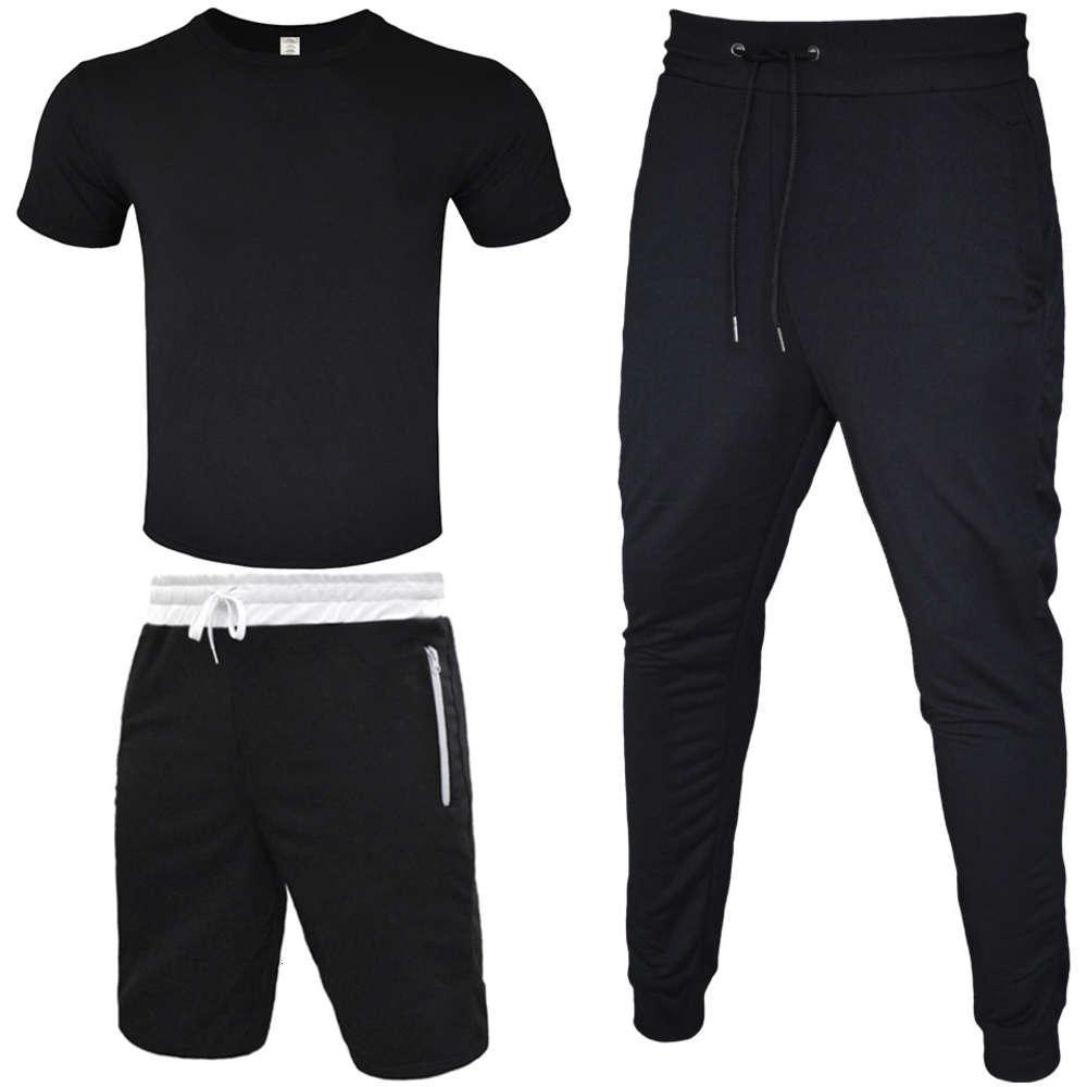 Track-Anzug Männer T-Shirt + Kurzer Hosen + lange Hose 3 Stück Sets Outfit Straße Wind Leggings Sport Casual Cotton T-Shirt Reißverschluss