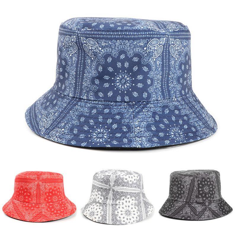 Bucket chapéu Mulher caju de feminina Fisherman é versátil, estilo nacional, sol e verso impressa Sunshade