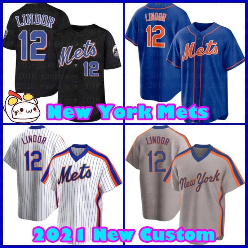 "48 Jacob Degrom Jersey 12 Francisco Lindor Novo ""York"" Mets Jerseys Baseball Pete Alonso Mike Piazza Michael Conforto Cutom Darryl Morango Keith Hernandez"