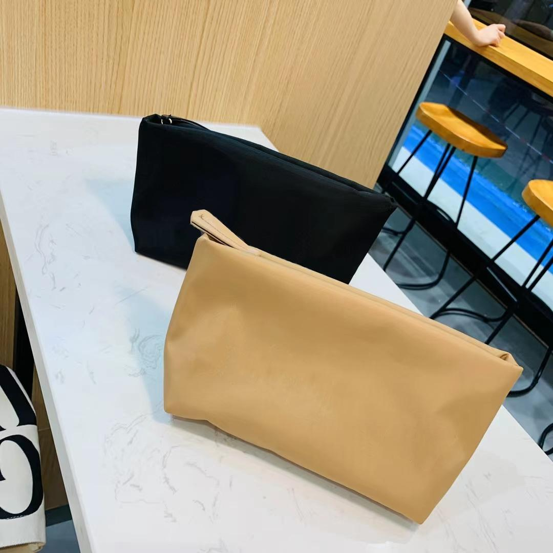 Latest Designer Cosmetic Bags for Women Fashion Traveling Toilet Clutch Bag Female Large Capacity Wash Toiletry Pouch in Khaki and Black Colors