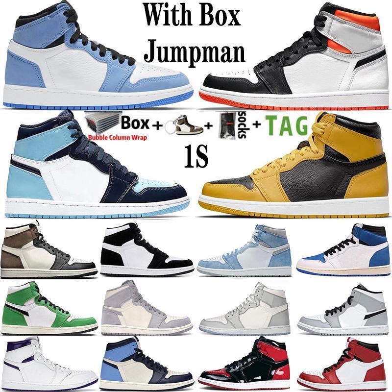 Mit Box 2021 Herren-Basketball-Schuhe 1s oben Obsidian UNC Fearless PHANTOM TURBO GREEN 1 Rückwand GYM RED Sport-Turnschuh-Trainer Größe 36-47