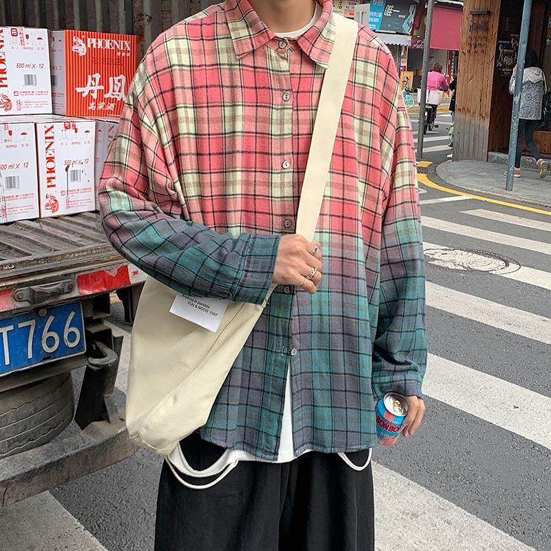 봄 코 튼 격자 무늬 셔츠 남성 패션 레트로 그라디언트 캐주얼 남성 스트리트웨어 한국어 느슨한 긴팔 셔츠 남성 M-XL