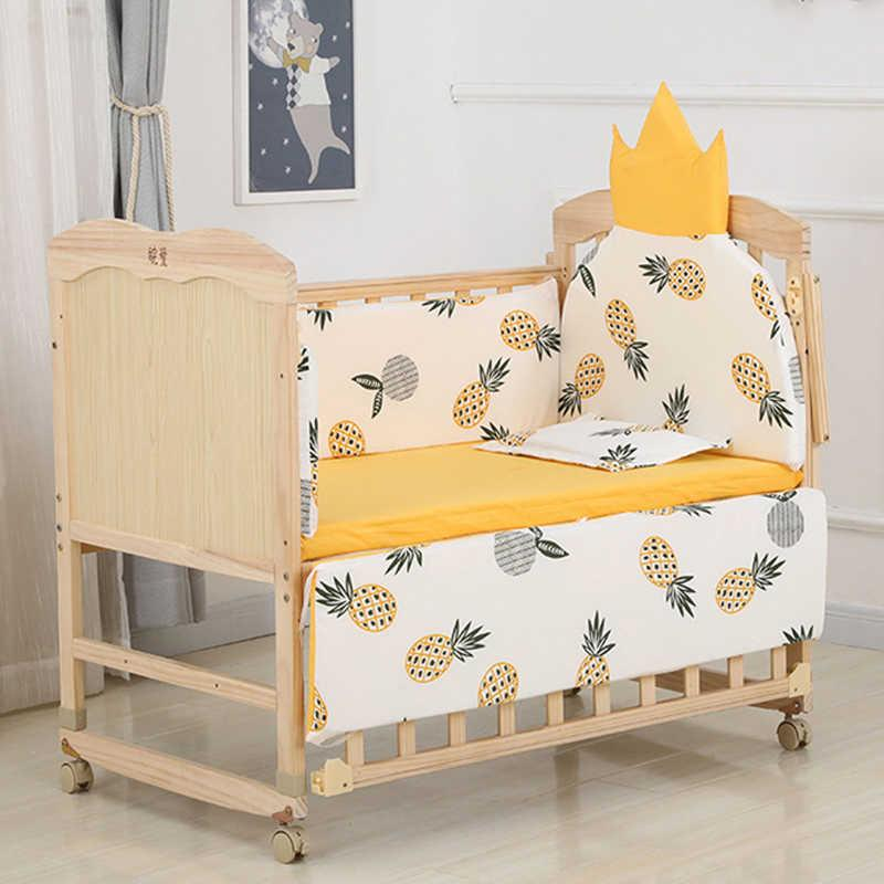 5pcs 110 * 56cm 신생아 아기 침구 소녀 소년 침대에 대 한 설정 Bumper Protector 크라운 디자인 아기 침대 범퍼 베드 시트 베갯잇 Q0828