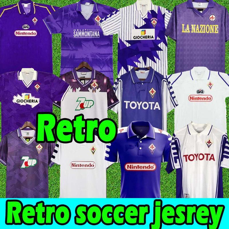 Fiorentina Retro Futbol Forması 91 92 93 94 95 96 97 98 99 00 Batistuta Rui Kosta Vintage Klasik Formalar Fútbol Futbol Gömlek 2000 Erkekler Camisas de Futebo Tayland Üst