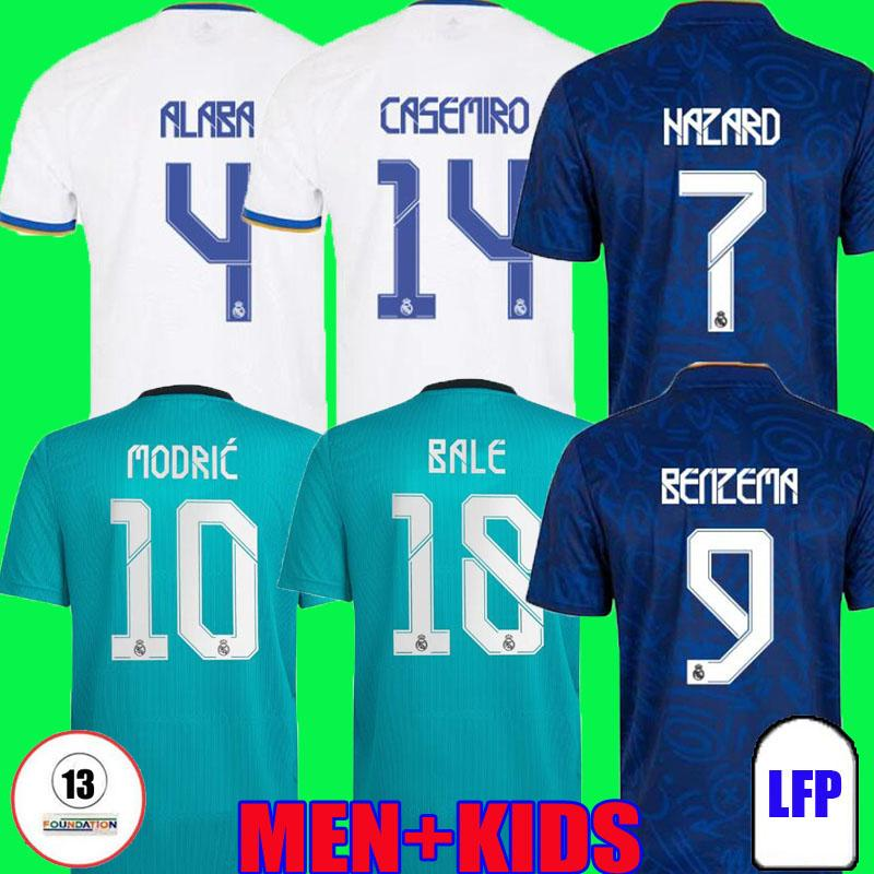 Fans Versão Jogador Real Madrid Jerseys 21 22 Camavinga Camisas de futebol de futebol Alaba Hazard Benzema Modric Bale Vini JR Casemiro Terceiro Camiseta Men Kids 2021 2022