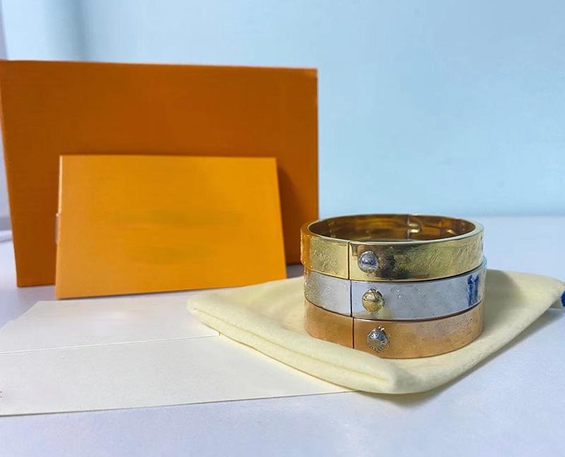 Diseñador joyería brazalete rosa oro plata acero inoxidable lujo simple cruz patrón de hebilla joyería mujeres pulseras con caja