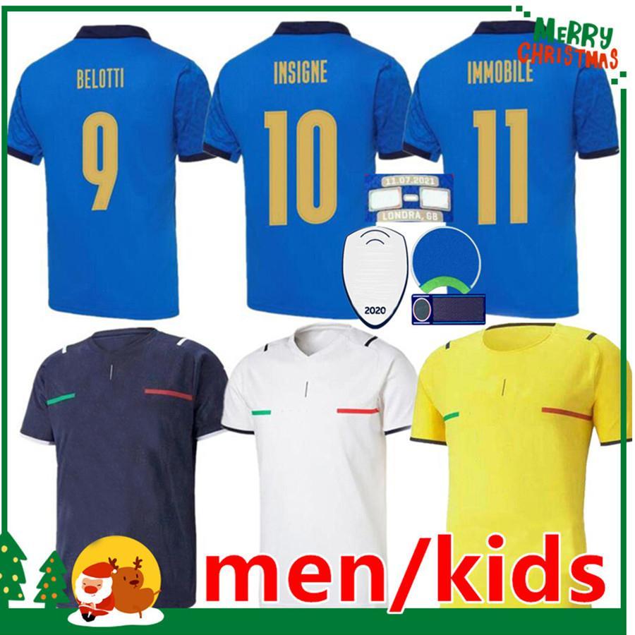 Italie 2021 Jersey de football Accueil Jorginho El Sharawy Bonucci Insigne Bernardeschi Italia Adulte Hommes + Kit Kit de football