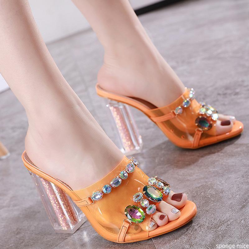 2021women sandalen mode strass kristall frauen sommer schuhe open toe sex high heels parteipumpen größe 40