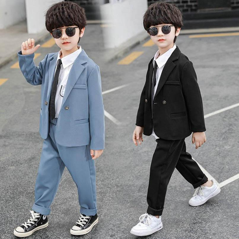 Boys Clothing Sets Boy Suit Kids Outfits Dress Spring Autumn Long Sleeve Jackets Coats Trousers Pants Fashion Business Suits 2Pcs 2-8Y B4799