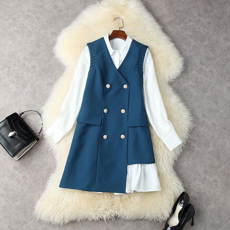 2021 Autunno Autunno Autunno Manica Lunga Collo Bianco Bianco Camicia Single-Breasted Dress + Blue Senza Senza Maniche Gilet Breasted Abito corto Abito a due pezzi 2 pezzi Set 21S05T12630