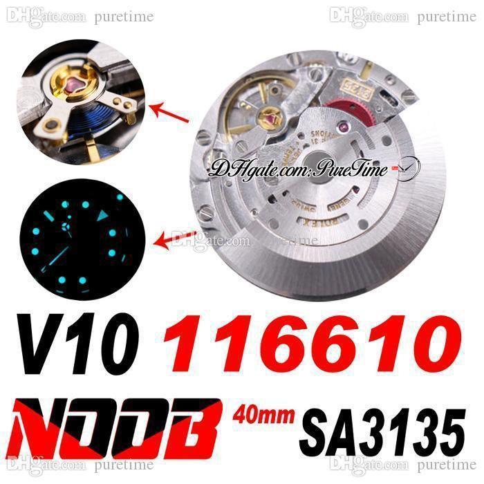 N V10 SA3135 Otomatik Erkek İzle Seramik Çerçeve Siyah Kadran 904L Çelik Kılıf ve Bilezik Süper Sürüm Mavi Hairspring Aynı Seri Kart 116610 Puretime Saatler V10A1