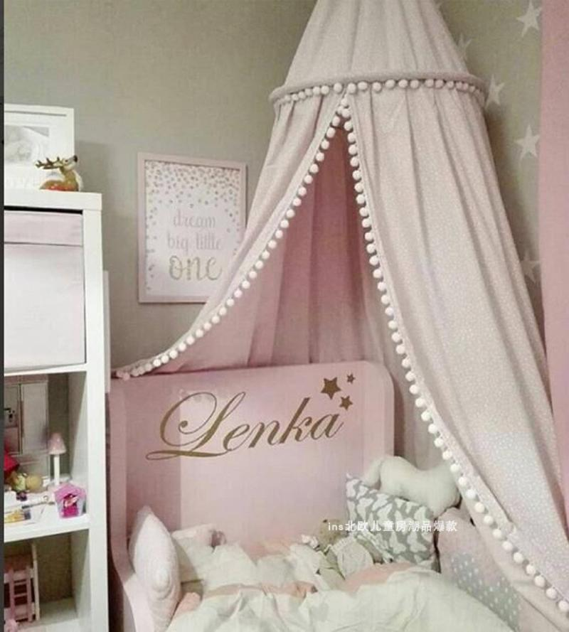 Ins Nordic Children's Room Decorative Woolen Ball Tassel Dome Bed Tent,mosquito Nets Baby Decoration Crib Netting