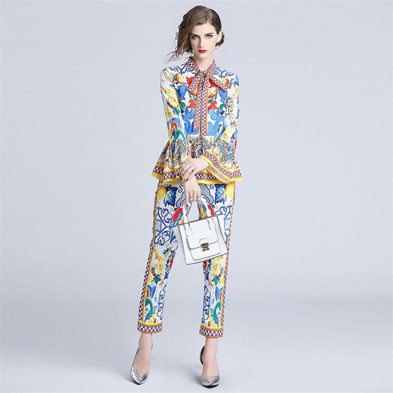 Moda pista de pista calças conjuntos de manga de manga das mulheres arco redondo colarinho cópia blusas e casual dois pedaços conjunto 210521