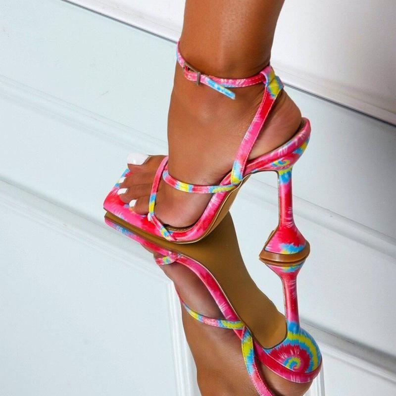 Quadratische Zehe High-Heeled Stiletto Frauen Sandalen Zapatos de Mujer Atmungsaktiv sexy Mode Sommer Damen Tacones Altos