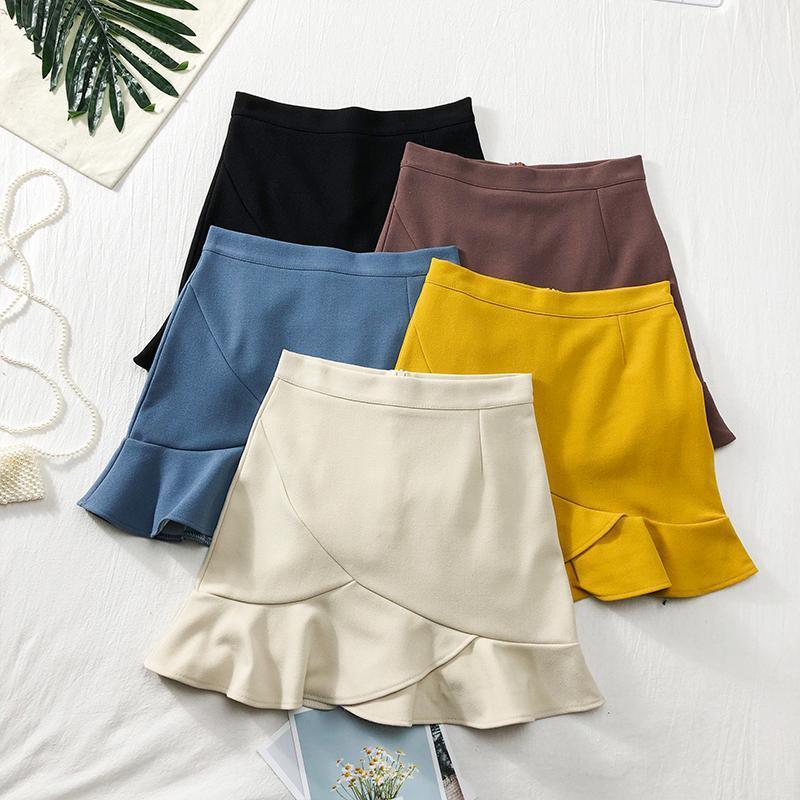 Röcke Lässige Frauen Süße Rüschen Hohe Taille Mini Slim A-Line Rock Frühling Koreanische Weibliche Kawaii Studenten Imperium über Knie