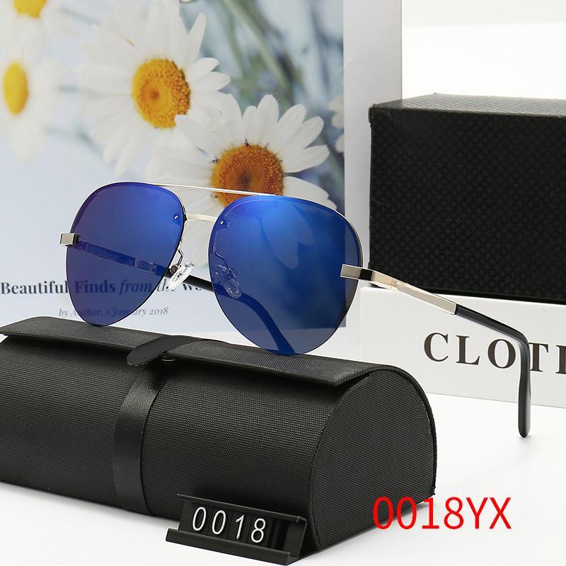 남자를위한 브랜드 디자이너 선글라스 여름 야외 샌디 비치 증거 그늘 좋은 품질 드라이버의 태양 안경 안경 광택 된 푸른 안경 상자 천으로 # 0018