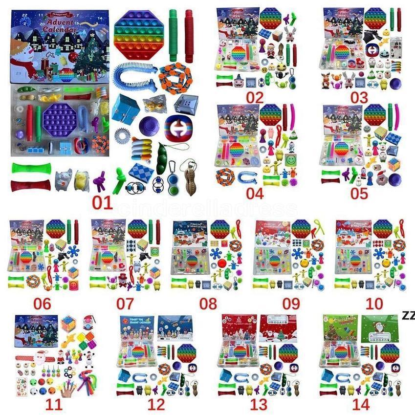 2021 Christmas Fidget Toy Advent Calendar Set de diciembre 24 días Push Bubble 24pcs / Set Silicone Stress Reliever Sensory Toys
