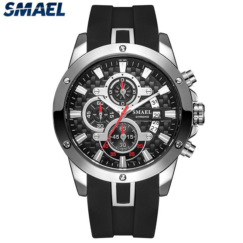 Sport Armbanduhr Männer 2021 Mode Smael Wasserdichte Silikonbanduhr Male Militär Quarz Herren Reloj Hombre 9087 Armbanduhren