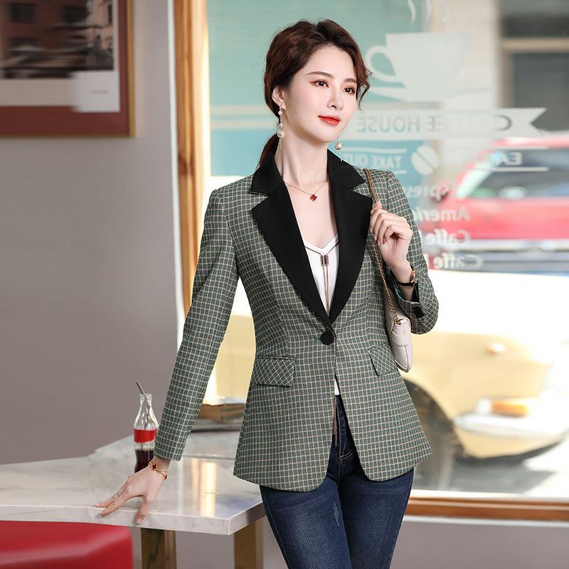 Hohe qualität karierte langarm frühling flazer jacken mantel für frauen geschäftsarbeit tragen damen blazer outwear tops kleidung frauen anzug