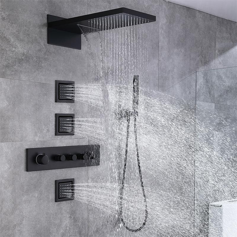 Concealed Full Copper Bathroom Shower Set Intelligent thermostatic 4 Function, Waterfall Rain Wall-mounted Square Top Spray head System 3 Side Jet Brass Matt black