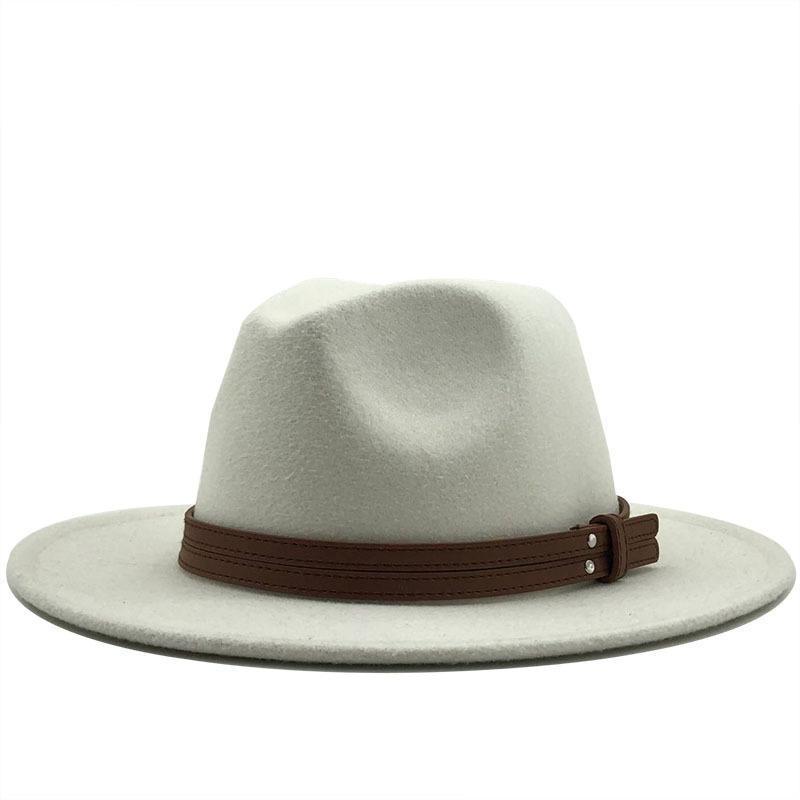Stingy Brim Hats Women's Hat Fedoras Men's Autumn Winter Felt Warm Panama Black Wool Chapel Beach White Wedding Picture Designer With Chain