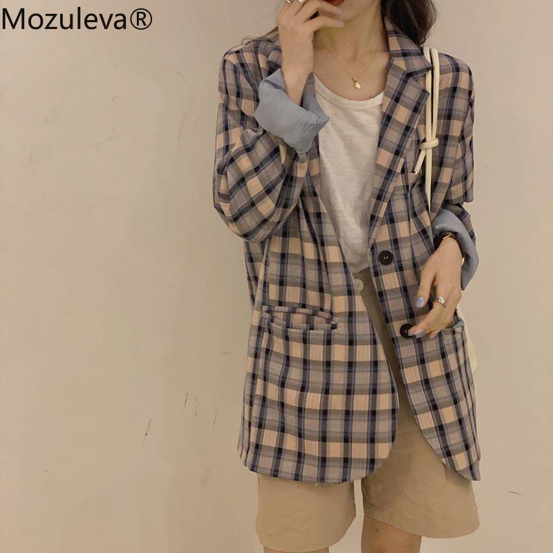 Костюмы Корейский мосулевой осень заполнены только погружной леди из офиса и плед куртки женские женщины пиджаки